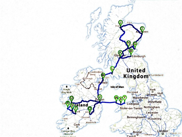 MAP - ITINERARY - Scotland:Ireland:Wales